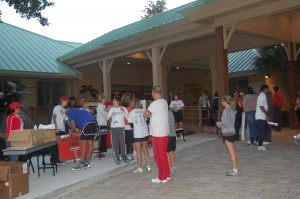 Runners and Walkers register for the race