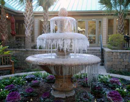 frozen courtyard fountain