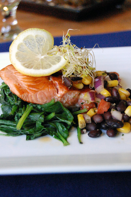 black bean and corn salsa served with salmon